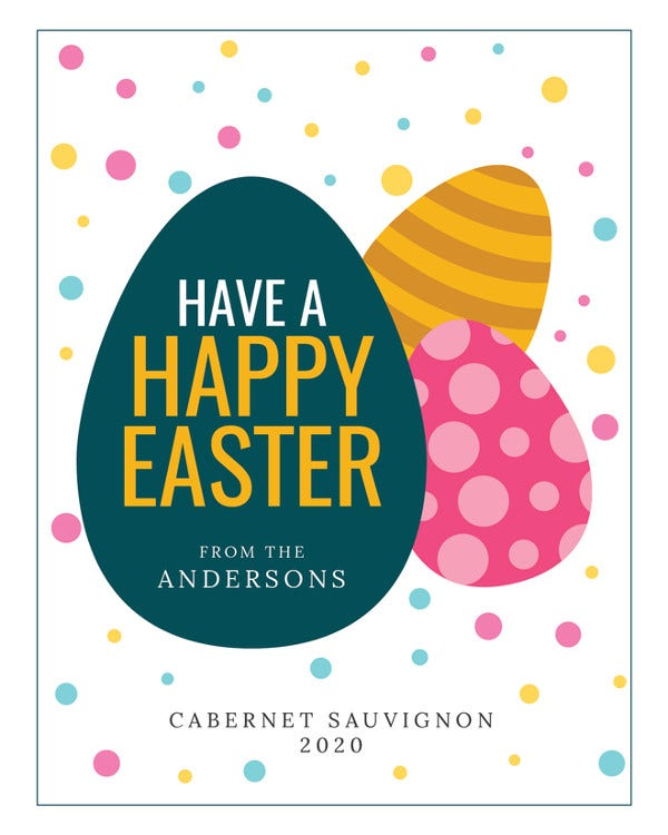 Easter Wine Label Template