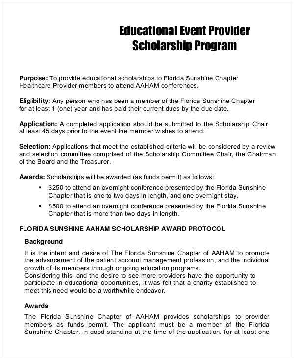 educational event provider scholarship program
