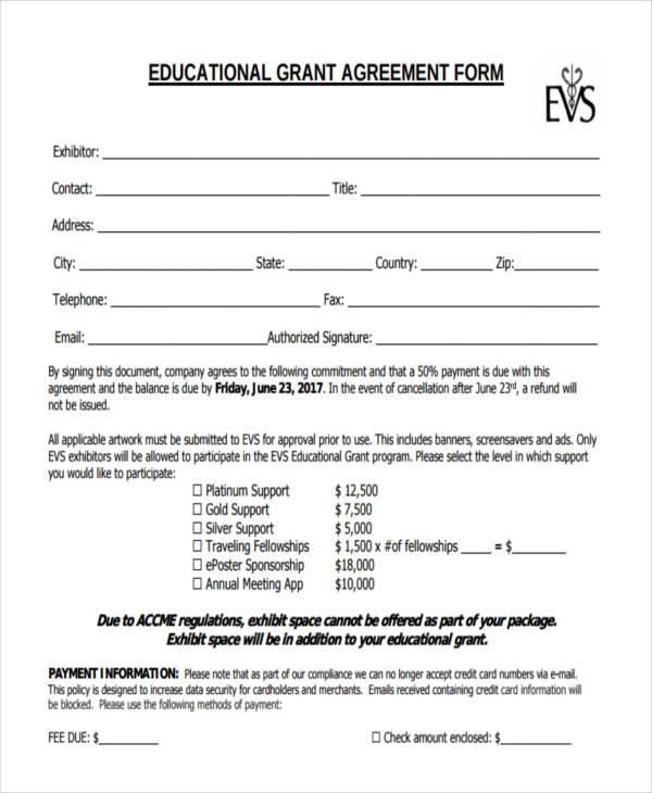 educational grant agreement