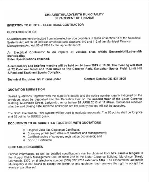 electrical contractor invitation