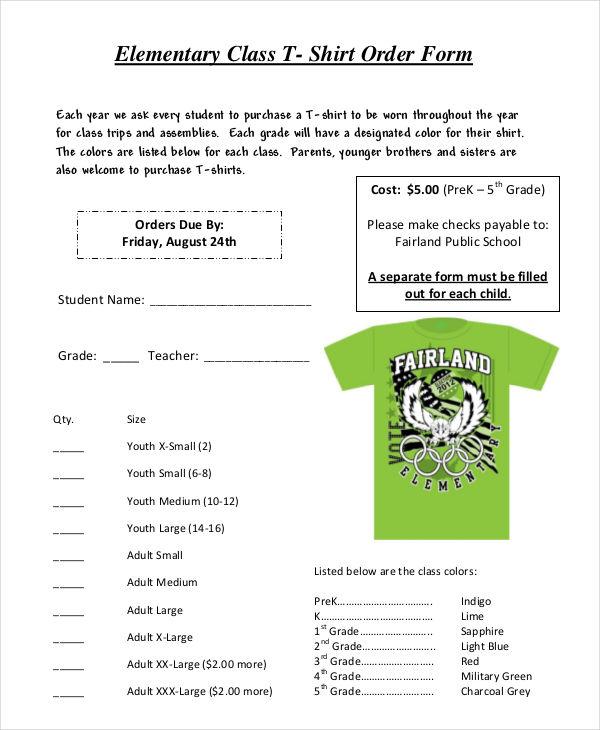 elementary class t shirt order