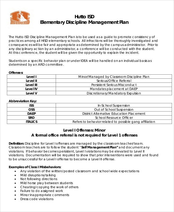 10+ Classroom Management Plan Templates -Free Sample, Example