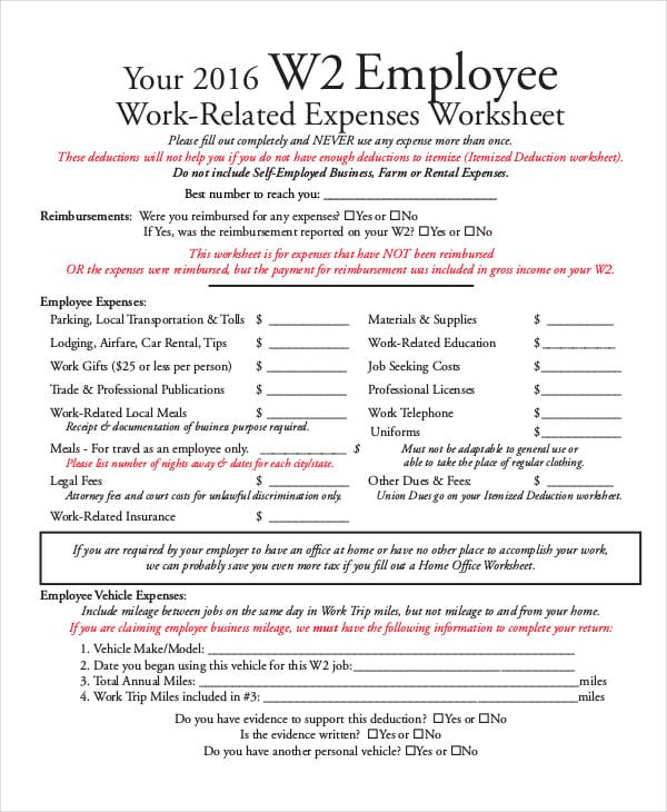 employee business expense sheet