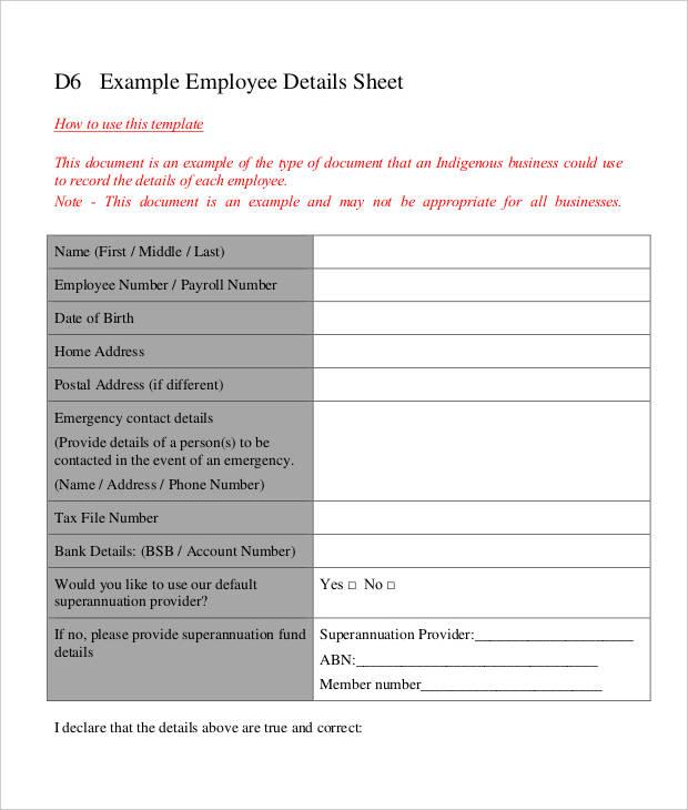 Employee Details Sheet
