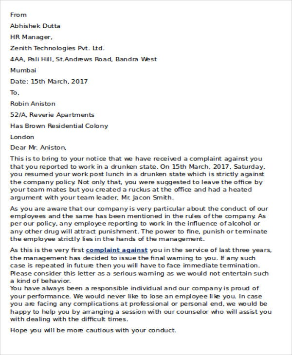 employee end of service letter