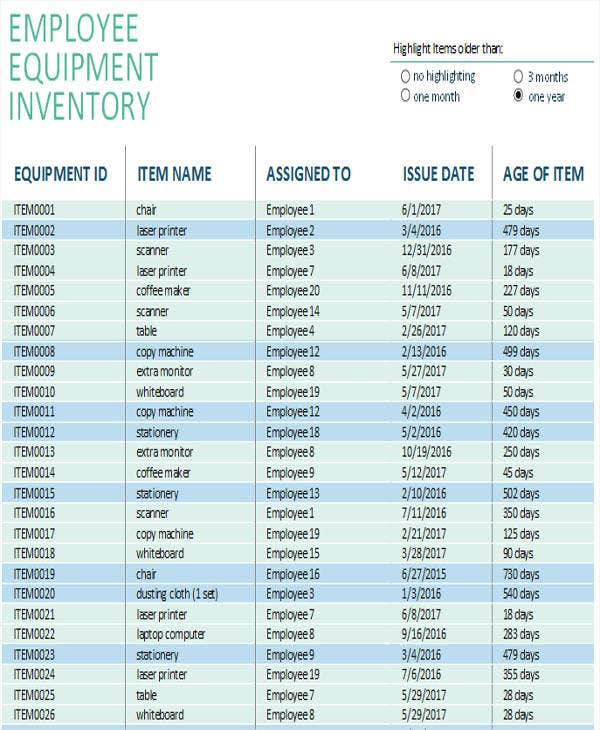 Equipment Inventory List Templates  Free Samples Examples