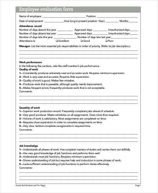 Evaluation Sheet Templates Free Sample Example Format