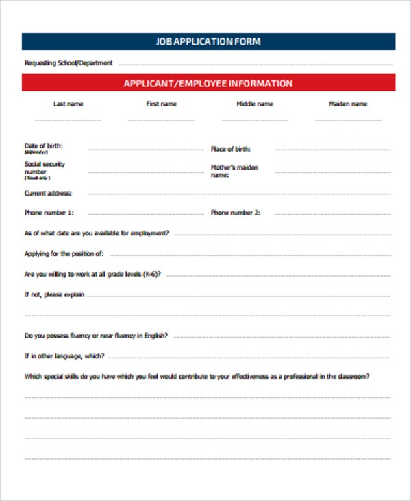 employee job application