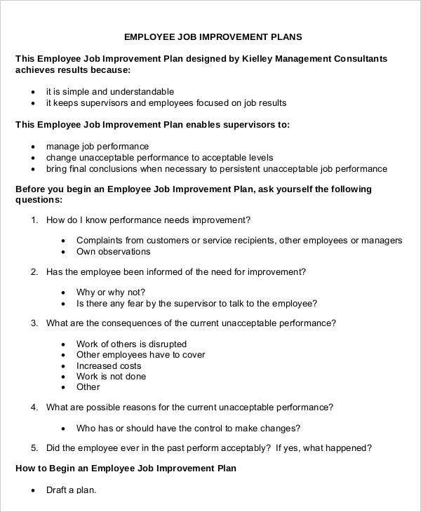 Employee Job Improvement Plan