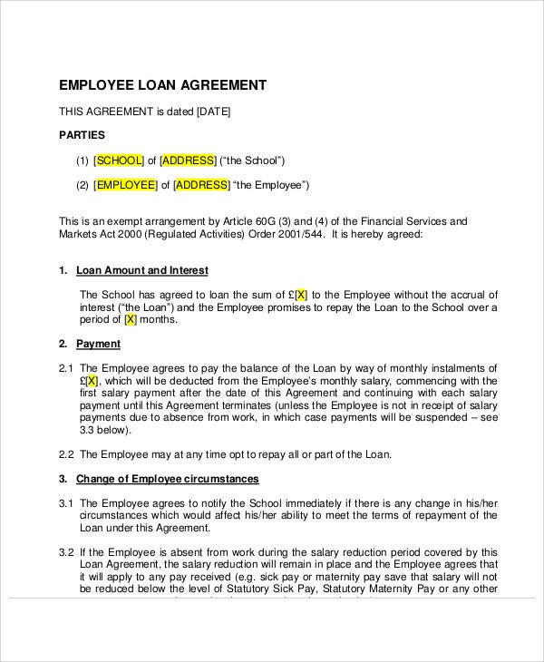 employee loan agreement example