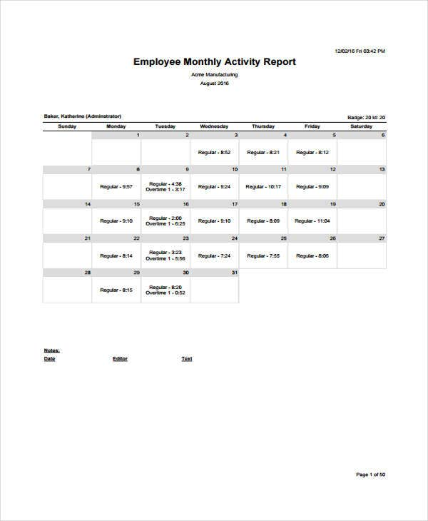 employee monthly activity report