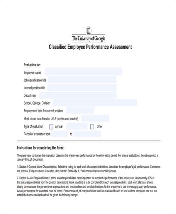 employee assessment form samples employee performance assessment busfinugaedu