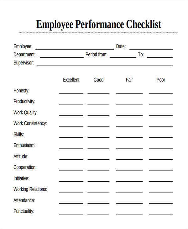 employee performance checklist