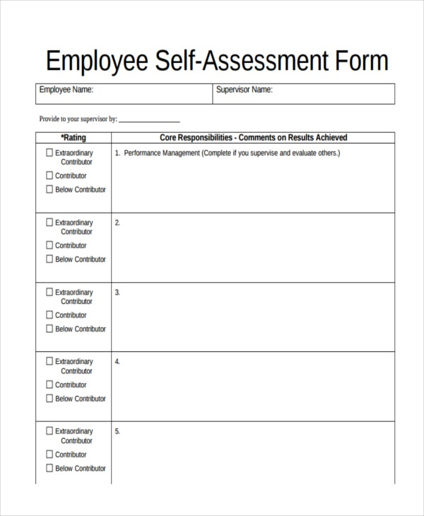 47 assessment form examples free premium templates for Risk control self assessment template
