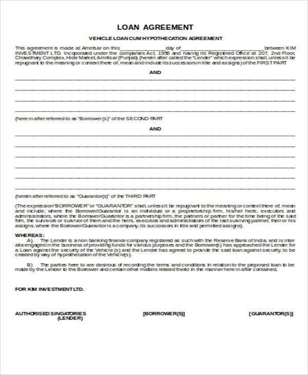 25 loan agreement templates free premium templates for Employee vehicle use agreement template