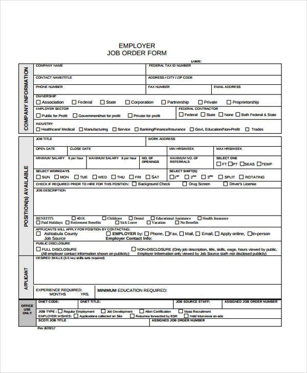 employer job order