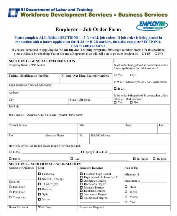 Employer Job Order