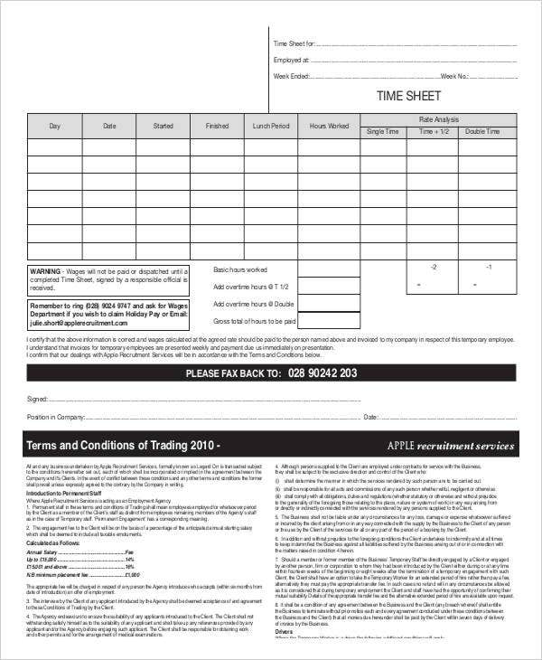 employment agency timesheet