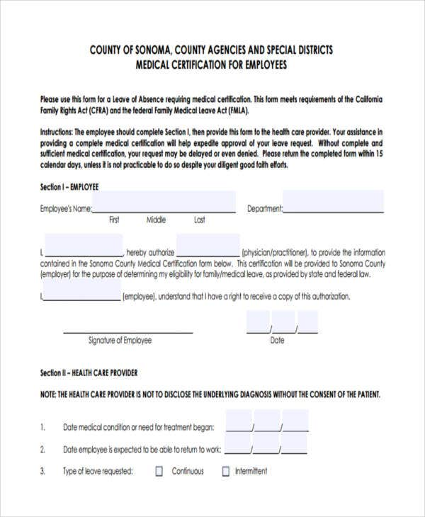 employment medical certificate
