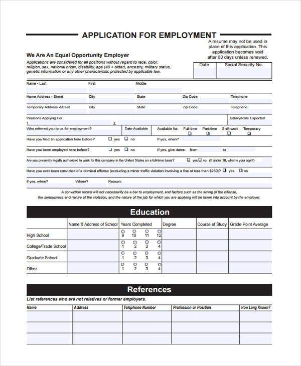job application references