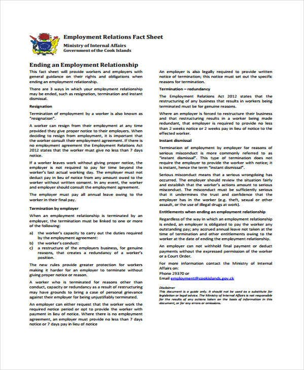 employment relations fact sheet