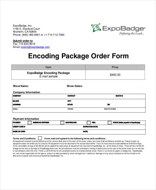 encoding package order