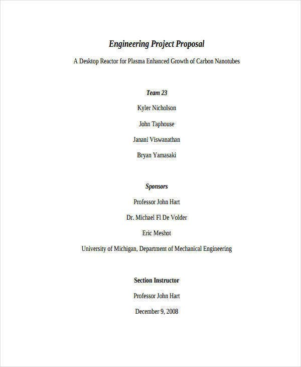 Engineering Proposal Templates   Free Word Pdf Format Download