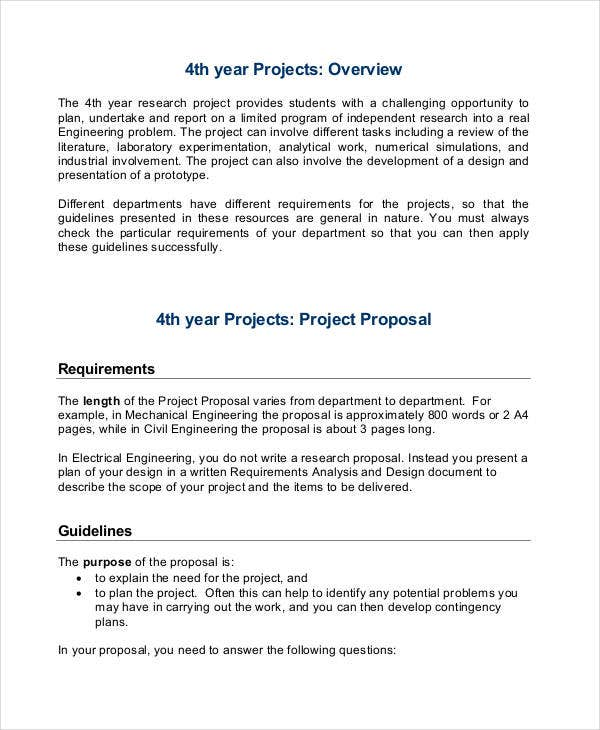 proposal format for research project  proposal format for research project example  2019
