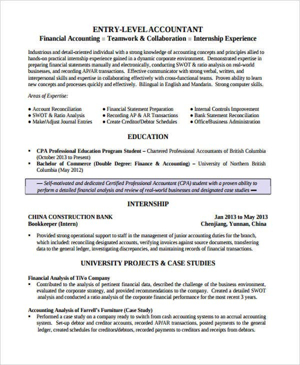 entry level finance resume