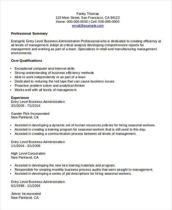 Business Administration Resumes  Business Administration Resume