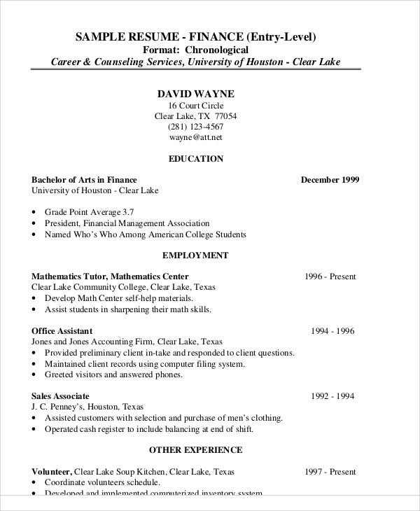 sample entry level finance resume