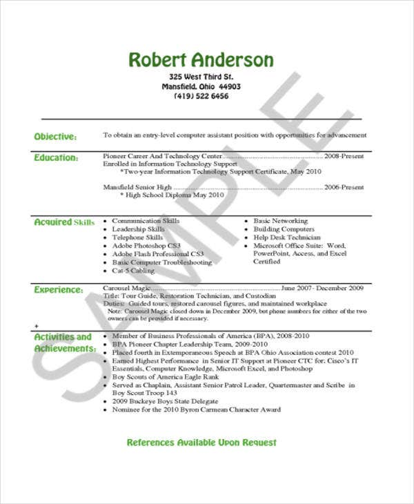 Example Of Simple Resume | 35 Simple It Resume Templates Pdf Doc Free Premium Templates