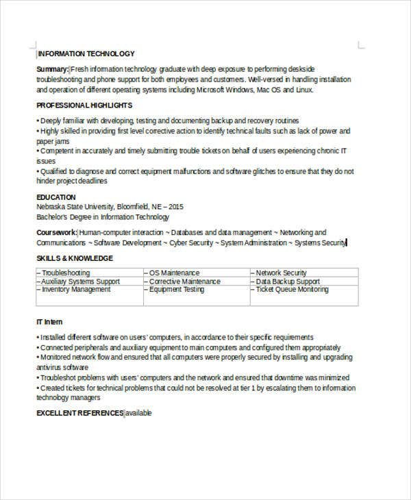 35 Simple It Resume Templates Pdf Doc Free Premium. Entrylevel It Resume. Resume. Entry Level It Resume At Quickblog.org