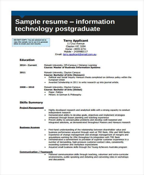 entry level it work resume
