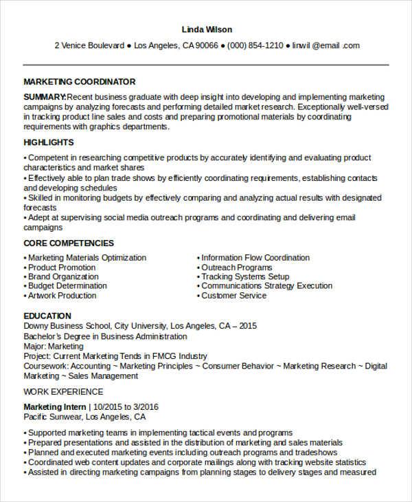 entry level marketing coordinator resume