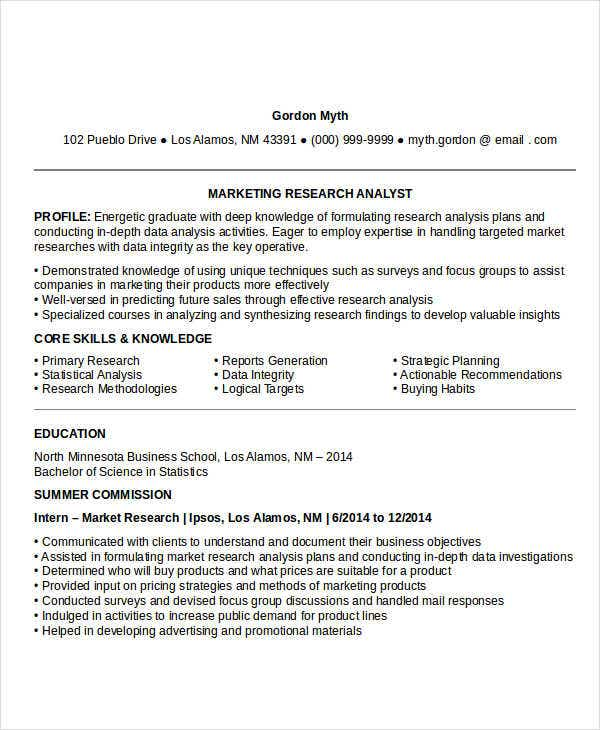 entry level marketing research resume