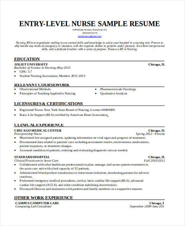 Entry Level Nurse Resume