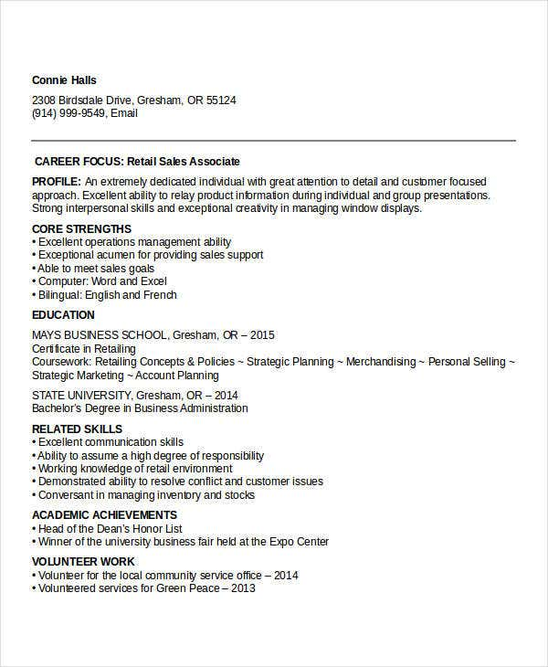 Sample Retail Sales Resume Templates  Pdf Doc  Free  Premium