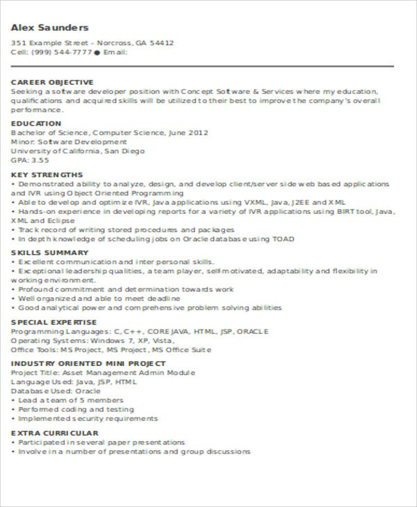 entry level software developer resume