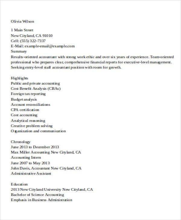 entry level staff accountant resume example