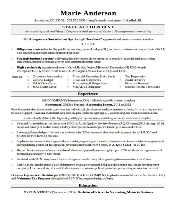 entry level staff accountant - Staff Accountant Resume Sample