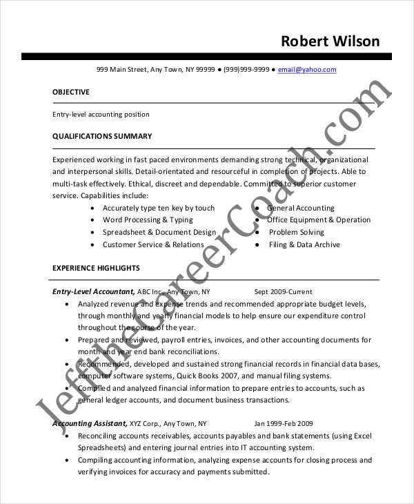 20 Accountant Resume Templates In Pdf Free Premium. Entrylevel Staff Accountant. Resume. Staff Accountant Resume At Quickblog.org