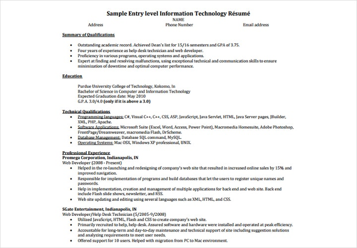 entry level information technology résumé