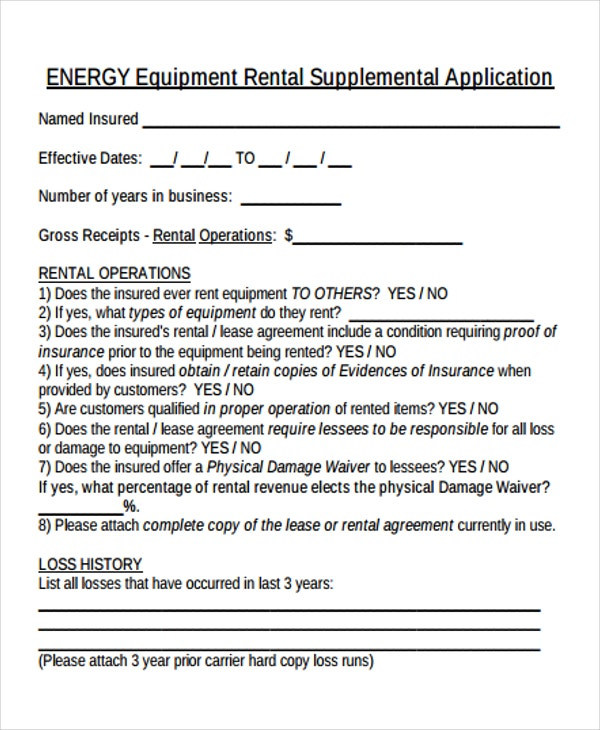 equipment supplemental