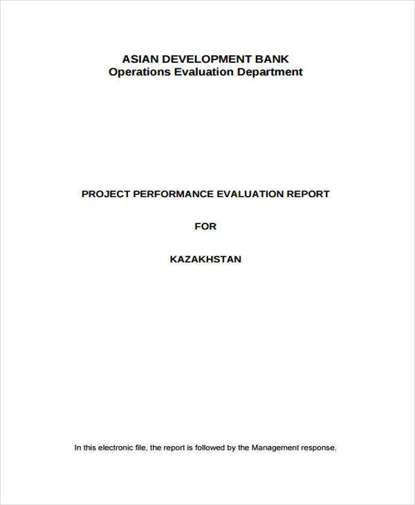 evaluation report for project performance