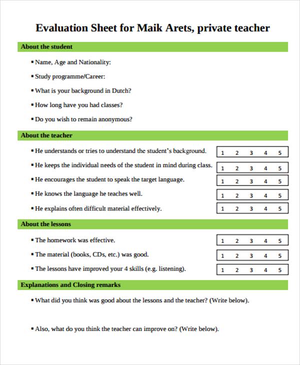 evaluation sheet for teacher