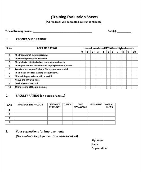 10 Evaluation Sheet Templates Free Sample Example Format
