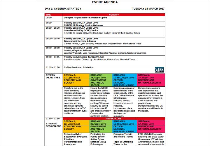 event agenda example
