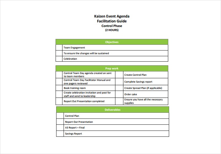 event agenda sample