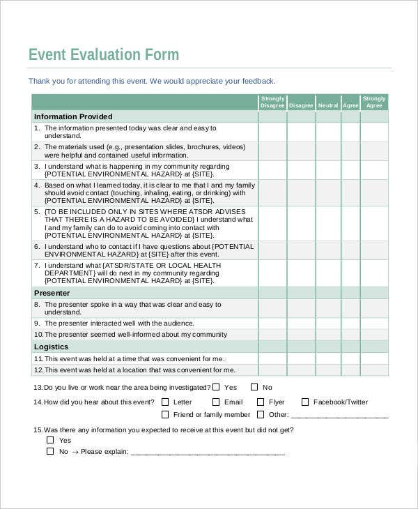 Event Evaluation Postevent Evaluation Form Evaluation Form Example